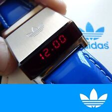 Rare adidas Originals LED Drivers Watch HSD 603 Stainless Steel Blue Leather