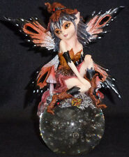 Autmn Pixie Fairy Elf on Globe statue figurine