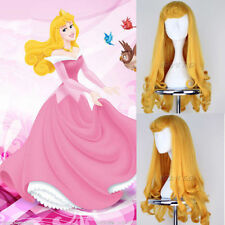 Disney Aurora Princess Long Wavy Golden yellow Curly cosplay Wig+free wigs cap