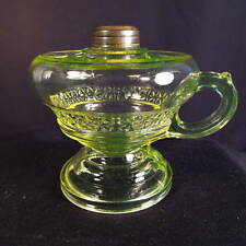 1880-90's Vaseline Glass 'Aquarius' Kerosene Oil No. 1 Footed Finger Lamp
