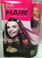 Barbie DESIGNABLE HAIR EXTENSIONS & DOLL 16 Extensions 6 Hair Clips Design Print