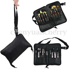 28 Pocket Cosmetic Makeup Brushes Apron Bag PU Leather Case + Belt Strap Holder