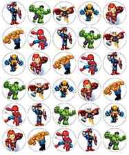 30x Marvel Superhero Squad Cupcake Toppers Edible Wafer Paper Fairy Cake Toppers