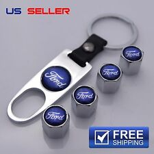 FORD VALVE STEM CAPS + KEYCHAIN WHEEL TIRE CHROME - US SELLER VS24