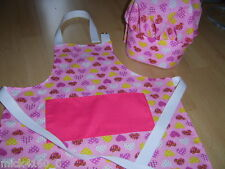 Personalised Childrens Apron  & matching Chef 's Hat - Pink Polka Dot Hearts