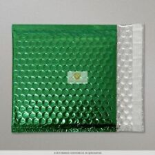 100 Green Metallic Bubble Wrap Lined Padded Mailing Gift Envelope / Bag CD Size