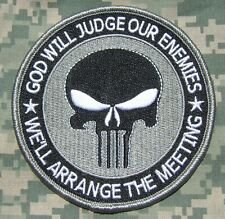 PUNISHER GOD WILL JUDGE OUR ENEMIES USA ACU USA VELCRO® BRAND FASTENER PATCH 4""
