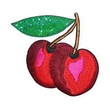 ID 1220Y Cherries Fruit Food Embroidered W/ Sequins Iron On Applique Patch
