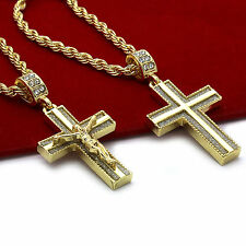 "Men 14k Gold Plated High Fashion 2 pcs set of Jesus Cross 4mm 30"" 24"" Rope chain"
