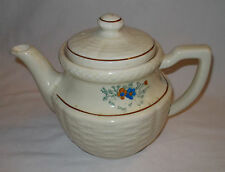 Basketweave Floral 6 Cup Teapot Handpainted Heavy Duty Porcelier China