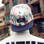 Blue Unisex Snapback Adjustable Baseball Cap Hip Hop hat Cool Floral Print