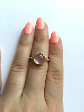 14K ROSE GOLD PAVE DIAMOND ROSE PINK QUARTZ COCKTAIL HALO ENGAGEMENT  RING