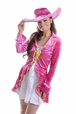 WOMENS LADIES SEXY DELUXE PIRATE / PIMP COSTUME HEN DOO FANCY DRESS PARTY OUTFIT
