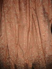 "Lovely Vintage Coral Pink and Cream Brocade Lined Curtains 66"" W x 52"" D"
