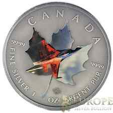 2015 1 Oz Ounce Silver Maple Leaf Coin .9999 Antique Finish Fighter Jet Theme