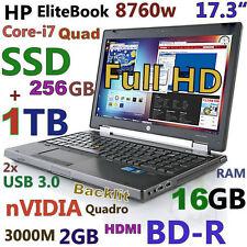 "(3D-Design 17.3"" FHD) HP 8760w i7-Quad (Blu-Ray 256GB SSD + 1TB 16GB) nVIDIA"
