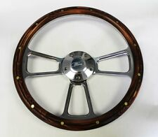 Bronco F100 F150 F250 F350 Pine Wood Grip & Billet Steering Wheel Ford Cap 14""