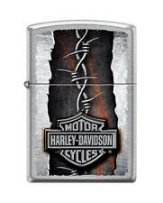 Zippo 1833, Harley Davidson-Barbed Wire, Street Chrome Finish Lighter, Full Size
