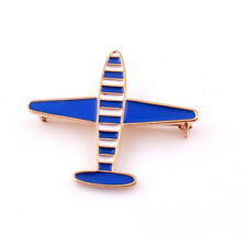 Elegant Charm White Blue Stripe Airplane Pins Brooch for men Women Jewelry Gifts