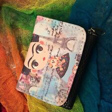 Frida Kahlo Wallet with Mirror Foldable Zippered Cute Mexican Folk Art Mexico
