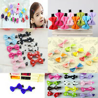 10*Toddler cute Girl Hair Clip Ribbon Bow Baby Kids Satin Bowknot Headband