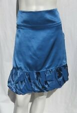 STUDIO M Max Blue Rayon Silk Tiered Bubble Hem Party Evening Skirt size S M