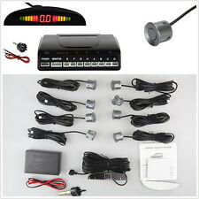 8 Grey Parking Sensor Car Reverse Safety Front Rear LED Radar Sound Alarm System