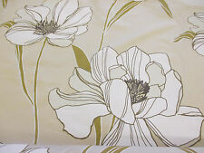 """""""Parchment"""" Shade & White Poppy Floral, Printed Taffeta Curtain Fabric"""