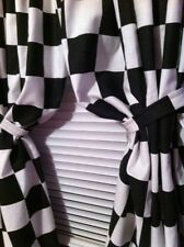 "Window Curtain panels handcrafted Nascar Black White Checkered Flag 43""W x 84""L"