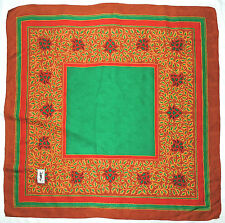 Luxury YSL Yves Saint Laurent LEAVES Floral Brown Red Green Jacquard Silk Scarf