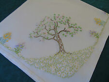 Vintage Hand Embroidered Table Cover,Tall Blossom Trees,Spring Florals