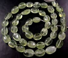 "NATURAL GEMSTONE GREEN PREHNITE SMOOTH OVAL BEADS 13"" Z3"