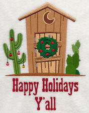 OUTHOUSE HOLIDAY EMBROIDERED SET 2 BATHROOM HAND TOWEL BY LAURA
