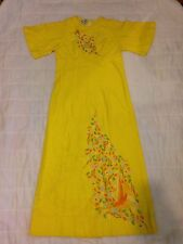Vintage Hand EMBROIDERED Yellow MEXICAN Hippie Festival Tunic Dress Fitted