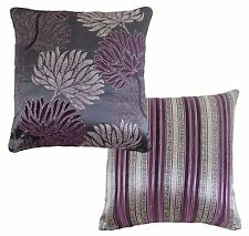 LUXURY FLORAL STRIPE TAPESTRY CHENILLE PURPLE PLUM SILVER CUSHION COVER 17""