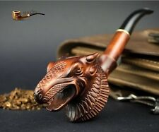 """EXCLUSIVE LARGE WOODEN REAL TOBACCO SMOKING  PIPE  """" Dragon """"   Hand Carved"""