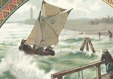 1880's BENSDORP'S ROYAL DUTCH COCOA TRADE CARD, FISHING BOAT BACK FREE SHIP TC26
