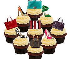 Handbags & Shoes 36 Edible Cup Cake Toppers, Fairy Bun Decorations Girly Female