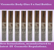 COSMETIC BODY GLUE 8 x 8ML BOTTLE - Suitable for Glitter Tattoos & Rhinestones