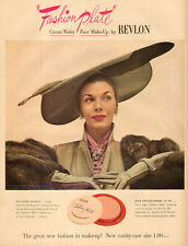 1949  AD REVLON Fashion Plate Cream Wafer Make-up Lovely Model  121716