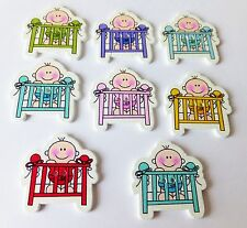 8pcs Wooden  Baby Cot Buttons, card making, scrapbooking, baby shower, UK Based