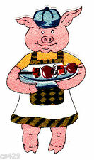 """3"""" BBQ HOGS PIGS GRILL CAMPERS BARBEQUE FABRIC APPLIQUE IRON ON"""