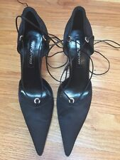 Sergio Rossi Sexy Black Satin Rhinestone Ankle Wrap Holiday Shoes Pumps sz 41 10