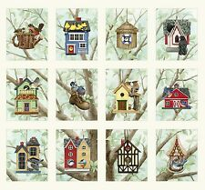Fabric Birdhouses Quilt Panel on Cream Birds 12 Squares 1 Panel 22x22 Elizabeth