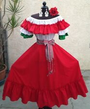 MEXICAN FIESTA,5 DE MAYO,WEDDING RED/TRICOL DRESS OFF SHOULDER2PC W/MEDIUM SASH