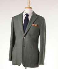 New $4495 D'AVENZA 100% Cashmere Twill Sport Coat 40 R Leather Elbow Patches