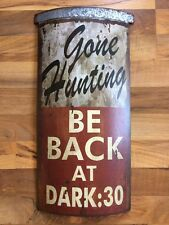 Gone Hunting Deer Buck Man Cave Wall Sign Metal Cabin Lodge Christmas Gift Bar