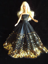 Barbie Doll in Black Evening Gown with Gold Sequins, Black Fur Wrap & Earrings