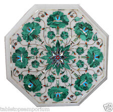 1'x1' White Marble Coffee Table Set Malachite Mosaic Inlay Marqutery Arts Decor