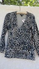 Willi Smith Cardigan Sweater New W Tags Misses L Cotton Blend Gray Black Blue